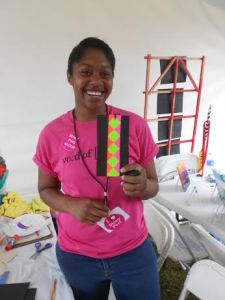 TCC scholar Briana Byrd  at WOS Festival's Story Fort