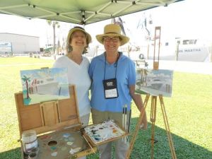 Painter Cynthia Edmonds., on the right, in Apalachicola.