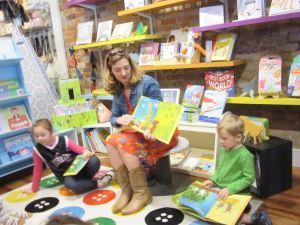 Irene Latham with young friends, The Bookshelf, Thomasville, GA