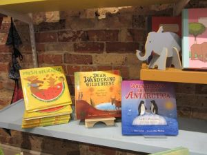 Irene Latham P.B. Shelf (with approving elephant) The Bookshelf, Thomasville, GA  c. 2016 JanGodownAnnino